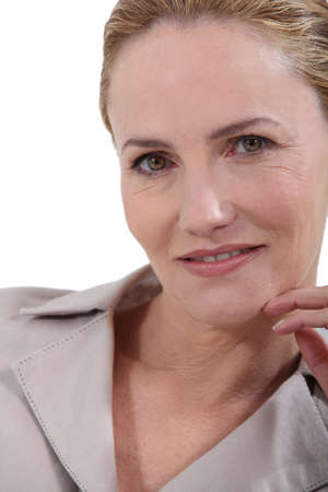 close up eyes: Portrait of middle-aged woman Stock Photo