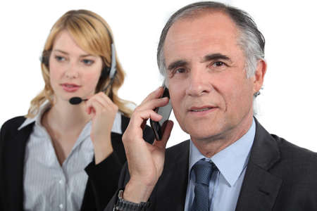 concurrent: Telephone conversations Stock Photo