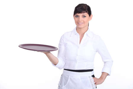 mid thirties: Waitress with an empty tray
