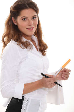 Waitress with an order pad photo