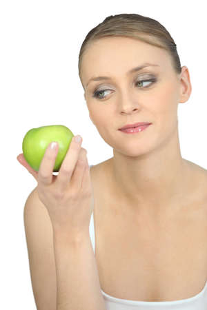 collation: Woman with green apple