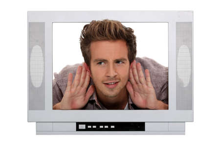 telly: Man stuck in a television screen and struggling to hear