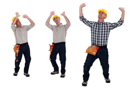 Builder under lots of pressure Stock Photo - 13460296