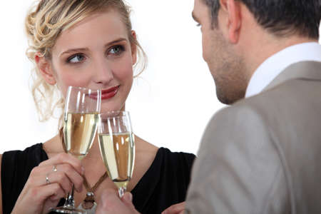 Couple drinking champagne Stock Photo - 13459529