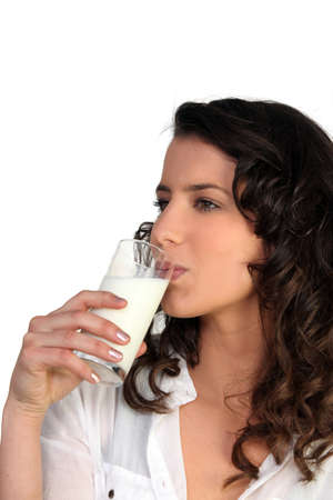 adequate: Woman with glass of milk Stock Photo
