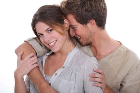 auburn hair: young couple of lovers laughing Stock Photo