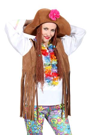 mujer hippie: Una mujer disfrazada de hippie Foto de archivo
