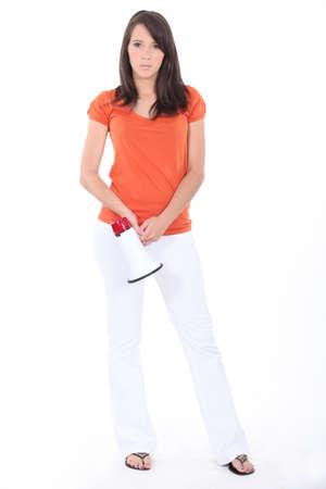 Woman holding megaphone photo