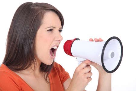 exceeded: Angry woman screaming in speakerphone