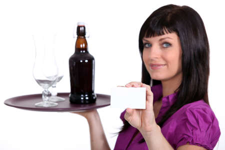 alcohol server: Female waitress, holding tray of beer and business card