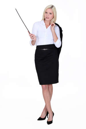 Businesswoman holding a conductor photo