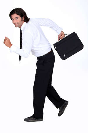 going out: Businessman fleeing