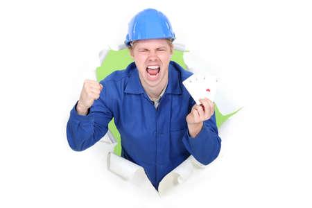 journeyman technician: A happy manual worker
