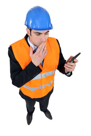 high visibility: Engineer dressed as a traffic controller Stock Photo