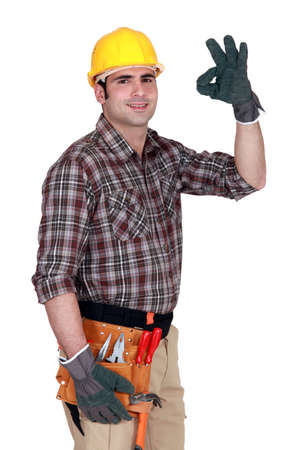 non verbal: Construction worker giving his sign of approval