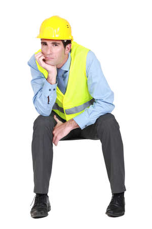 Bored engineer working on-site Stock Photo - 13460211