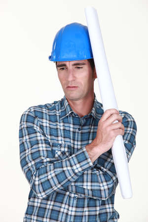 A construction worker deep in his thoughts Stock Photo - 13459038