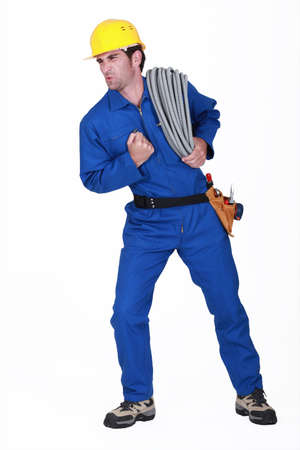 rejoicing: Happy tradesman rejoicing Stock Photo