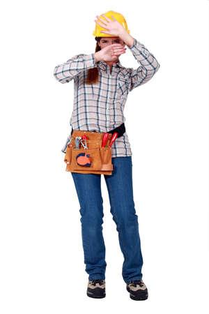 workwoman: Woman defending herself