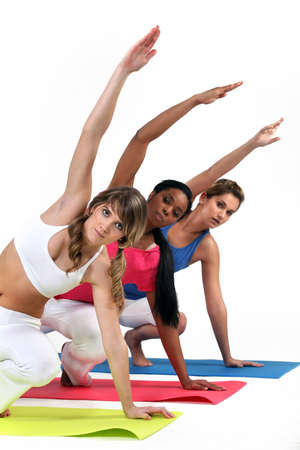 classes: Three woman in gym class
