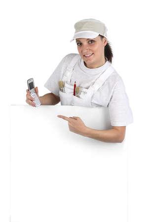 Female decorator promoting business Stock Photo - 13500059