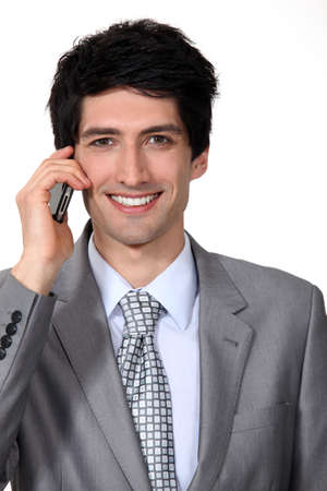 executive affable: Black man on the phone