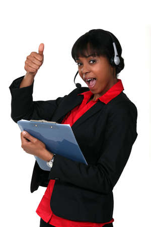 supervisores: Llame al supervisor del centro dando el pulgar