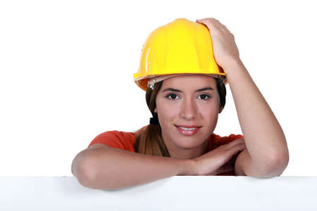 A portrait of a female construction worker  photo