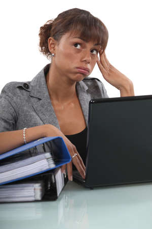 secretary desk: Bored employee