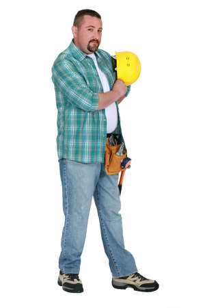overweight man: Portrait of a tradesman