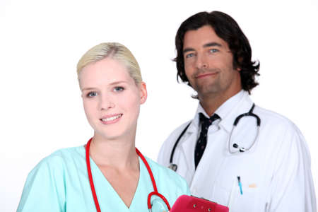 outpatient: Doctor and nurse Stock Photo
