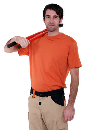 Craftsman with tool on shoulder Stock Photo - 13541634