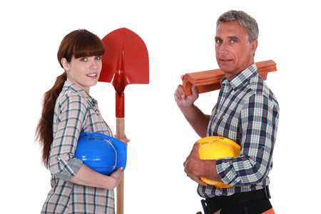 50 55 years: A team of builders Stock Photo