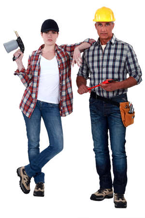 Bricklayer and welder photo