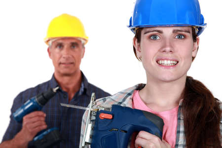 apprehensive: Apprehensive woman holding a jigsaw