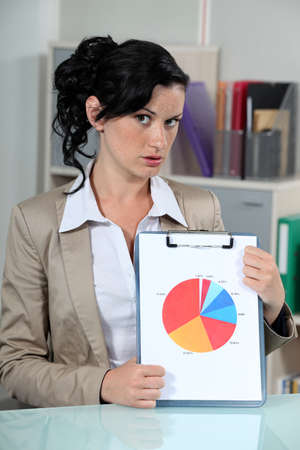 displaying: Woman displaying the results of a survey in pie chart format Stock Photo