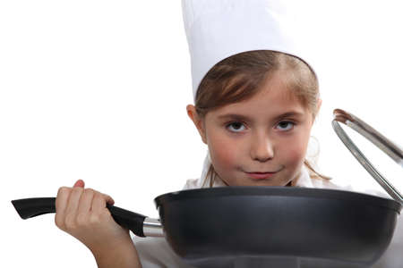 Girl with pan photo
