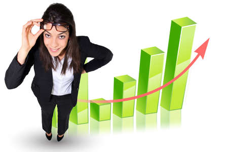 Businesswoman stood by graph photo