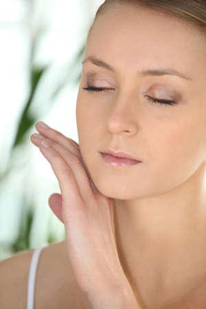 closed up: Woman at a spa