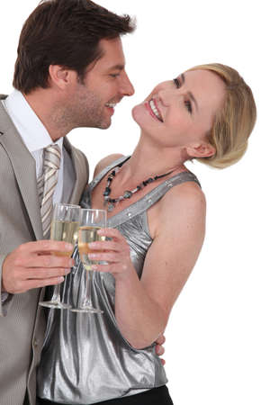 couple dancing: Flirtatious man and woman Stock Photo