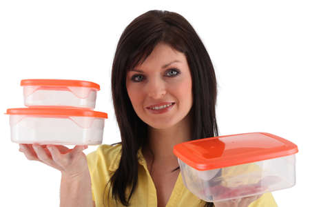 serviceable: Brunette with lunch boxes