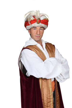 turban: Man in an Arabian sultan costume Stock Photo