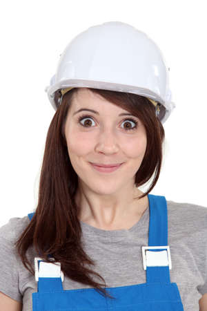 Happy female builder photo