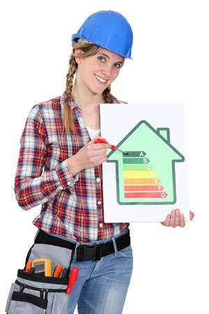 norm: Woman holding screwdriver and energy rating card