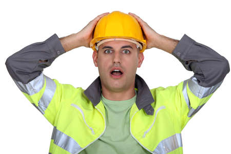 Worker gasping Stock Photo - 13542111