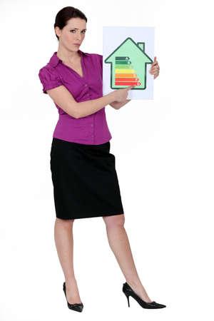 Woman  explaining energy rating Stock Photo - 13541188