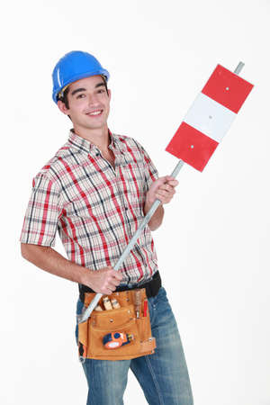 Construction worker on white background photo