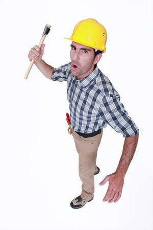 Angry construction worker photo