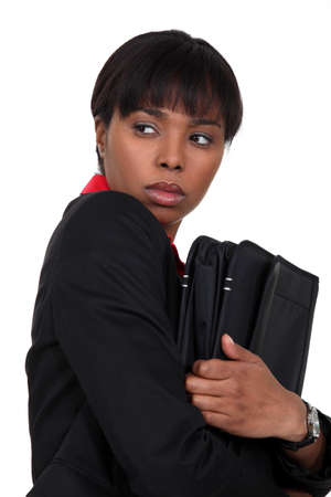 petty theft: Nervous businesswoman has something to hide