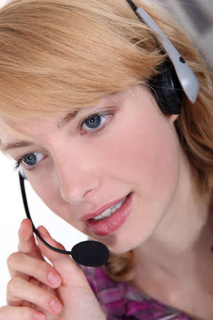 Woman in a headset Stock Photo - 13542150